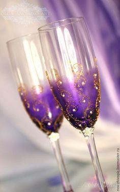 """Купить Бокалы """"Magic Dreams""""(Волшебные Сны). Роспись - свадебные бокалы, свадебные аксессуары, бокалы для свадьбы"""