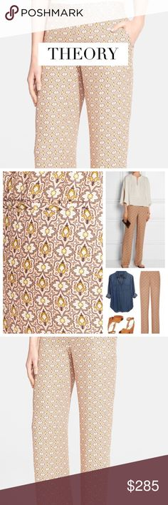 """THEORY MITRANA FOULARD PRINT SILK PANTS Modern minimalism is Theory's stock-in-trade. The 'Mitrana' silk trousers transition beautifully from desk to dinner and drinks. Size: Small. Approx. Measurements: Waist 31"""", Hip 39"""", Length 45 5"""", Inseam 35"""" Material: 100% Silk. Condition: Excellent! Sold Out! Perfect for summer! Theory Pants"""