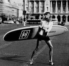 Chanel + surfing. Fabulous. ~