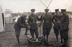 Order of the bath: Officers of the Household Battalion form a guard of honour at Richmond Camp in 1916