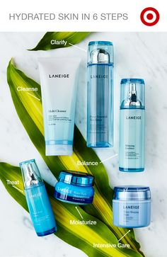 Get flawless and well-hydrated skin in six easy steps with Langeige. 1. cleanse to purify and exfoliate skin, 2. clarify and soften with toner, 3. balance your skin's oil and moisture, 4. treat with serum to lock in moisture, 5. moisturize with water bank moisture cream, then 6. apply intensive care to revitalize skin while you sleep.