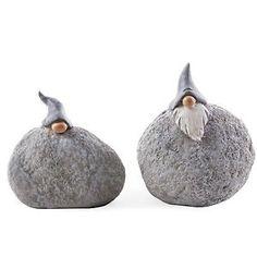 Set of Two Grey Pebble Rockery Gnomes Unusual Garden Ornaments | eBay