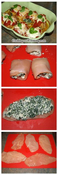 If you are looking for a simple fancy dinner recipe, you have to try this Spinach Chicken Roll recipe. An easy chicken dish with ricotta cheese and spinach, topped with mozzarella cheese and Marinara sauce that all of your guests will love. I Love Food, Good Food, Yummy Food, Tasty, Rolled Chicken Recipes, Chicken Receipe, Cooking Recipes, Healthy Recipes, Spinach Stuffed Chicken
