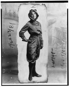 Harriet Quimby (1875-1912)  was an early American aviator and a movie screenwriter, known for her puce jumpsuit. In 1911 she was awarded a U.S. pilot's certificate by the Aero Club of America, becoming the first woman to gain a pilot's license in the United States. In 1912 she became the first woman to fly across the English Channel. She died when she fell from her aircraft on July 1, 1912.