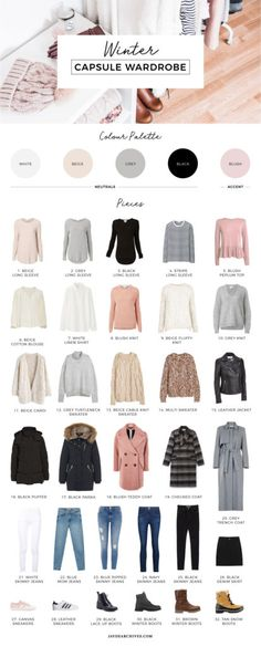 Winter-Kapsel-Garderobe - Winter capsule wardrobe - Best Of Women Outfits Wardrobe Basics, New Wardrobe, Capsule Wardrobe Winter, Wardrobe Ideas, Winter Wardrobe Essentials, Capsule Wardrobe Examples, Staple Wardrobe Pieces, Fall Capsule, Staple Pieces