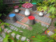 Stump seats and a toadstool table