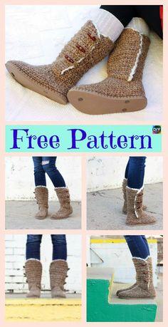 Crochet with Soles Free Patterns - Crochet Boots with Soles - Free Patterns Crochet Boots Pattern, Crochet Slipper Boots, Crochet Slippers, Shoe Pattern, Cute Crochet, Crochet Yarn, Crochet Patterns, Flip Flop Boots, Crochet Flip Flops