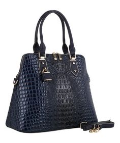 104d0054a543e2 Loving this Navy Croc-Embossed Melba Satchel on #zulily! #zulilyfinds Crocs,