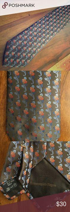 Excellent Condition Zegna Tie Gorgeous floral pattern! Brown, blues, red & orange. Ermenegildo Zegna Accessories Ties