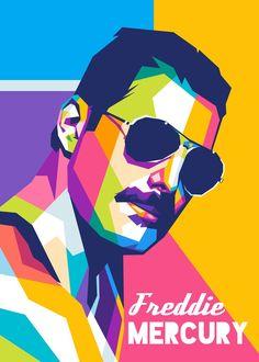 'Freddie Mercury Legendary' Poster Print by Namrahc Kunatip | Displate Queen Drawing, Pop Art Drawing, New Artists, Music Artists, Pop Art Illustration, Freddie Mercury, Poster Prints, Pop Art Prints, Posters