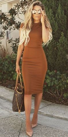 Rust bodycon dress w/Louis Vuitton bag & CL pumps. Add a cropped leather…