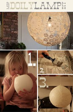 Luminária, craft, lamp, lampshade, paper mache with lace, hanglamp, papier maché met kant, diy