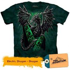 Electric Dragon - Dragon la doar 135,20RON Dragons, Electric, Mountain, 3d, Mens Tops, T Shirt, Tee, Kite, Kites