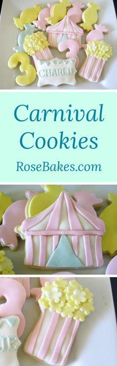 Carnival Cookies   RoseBakes.com!!! Bebe'!!! So Cute!!!