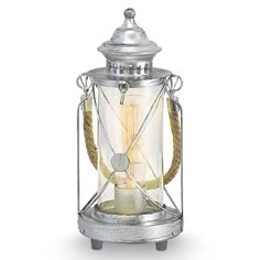 Vintage Antique Silver Steel Traditional Lantern Style Table Light. This light adds a Nautical Feel to any room with its unique design. Constructed of Steel and Glass with an
