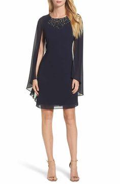 Main Image - Vince Camuto Embellished Caped Sheath Dress