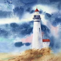 Art Tutorials, Paint Colors, Watercolor Paintings, Poetry, Bell Rock Lighthouse, Water Colors, Paintings, Blue Prints, Lighthouse