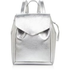 Loeffler Randall Mini Metallic Backpack (1.206.225 COP) ❤ liked on Polyvore featuring bags, backpacks, silver, mini bag, mini leather backpack, white leather backpack, leather rucksack and mini backpack
