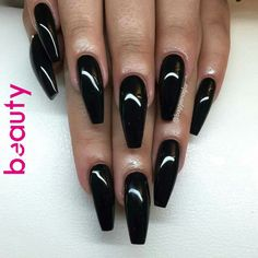 Dec 2019 - Many-colored manicure which do not suit every occasion. Then we pay attention to black nails. Theoretically, it is a typical fashion color, but if we allow ourselves to enrich it … Simple Acrylic Nails, Black Acrylic Nails, Black Coffin Nails, Long Black Nails, Black Acrylics, Classy Nails, Trendy Nails, Cute Nails, Black Nail Designs