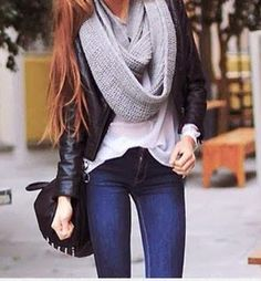 infinity scarf + leather jacket
