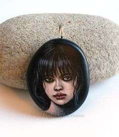 Black eye girl portrait, original painted stone pendent by Magics of Creation