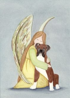 Boxer uncropped ears with angel / Lynch signed by watercolorqueen, $12.99