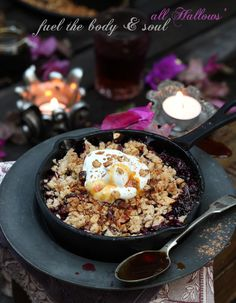 Plum & Carob Crisp for an autumnal treat. Campfire, stove-top or oven cook.