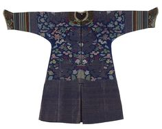 A composite blue ground brocade silk dragon robe, Late Qing dynasty elements