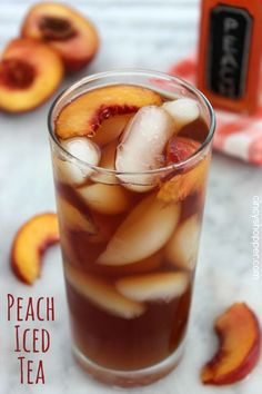 Peach Iced Tea Recipes Cuisine : Recipe Yields : Prep time : & Keywords : , Ingredients Peach Syrup: 1 cup Sugar 1 cup Water sliced fresh Peaches Tea: 3 Tea Bags 6 cups Water Instructions Bring syrup ingredients to boil. Then reduce heat& Best Iced Tea Recipe, Iced Tea Recipes, Drink Recipes, Yummy Drinks, Healthy Drinks, Passion Tea Lemonade, Lemonade Ice Tea Recipe, Pink Lemonade, Smoothies