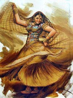 euphoria 04 (Painting), in by Laxman Kumar Artist Delhi based on indian dance series Indian Artwork, Indian Art Paintings, India Painting, Woman Painting, Painting Art, Indian Women Painting, Rajasthani Painting, Dancing Drawings, Dance Paintings