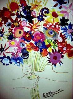 PicassoinspiredHandWithFlowersbyKindergarten1's art on Artsonia