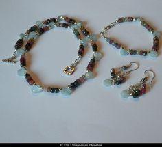 perles swarovsky  gris bijoux de créateur Broche fibule argentée