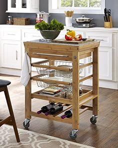 Boraam 50652 Rina Bamboo Kitchen Cart With Granite Top