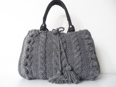 gray  Handbag  Shoulder bag knit bag  with adjustable by Sudrishta, $80.00. This would be so easy to make.