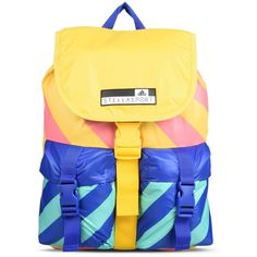 Stella McCartney Colour Block Backpack ($65) ❤ liked on Polyvore featuring bags, backpacks, multicolour, yellow backpack, colorful backpacks, stripe backpack, drawstring bag and adidas bag