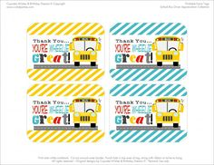 School Bus Driver Thank You Free Printables   Cupcake Wishes & Birthday Dreams