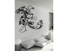 Baroque Floral Ornement Wall Decals by Couture Deco Black Wall Stickers, Modern Wall Stickers, Removable Wall Decals, Diy Tattoo, Wall Tattoo, Wall Sticker Design, Wall Design, Black Walls, White Walls
