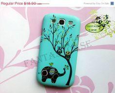 SALE Elephant and Owls  Samsung Galaxy S3 Case  by FantasyCase, $17.90