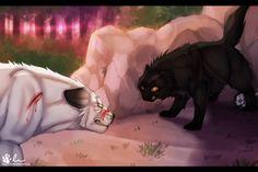 Yellowfang protecting Frostfur's kits from Blackfoot...