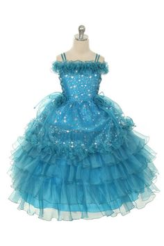 Girls Dress Style 1021- TURQUOISE Stunning Organza Ruffle Off the Shoulder Dress  A breathtaking style that is full of opulence and grandeur. The organza off the shoulder dress features stunning sequin detailing throughout the entire dress. The style has corset closures on the sides of bodice. Floral pins on the skirt are removable. Zipper closure.  http://www.flowergirldressforless.com/mm5/merchant.mvc?Screen=PROD&Product_Code=RK_1021TUR&Store_Code=Flower-Girl&Category_Code=Turquoise