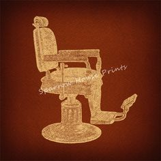 Antique Barbers Chair Vintage Artwork Print Wall Art With Rust Brown Paper Background No2143 B23 8x8 8x10 11x14