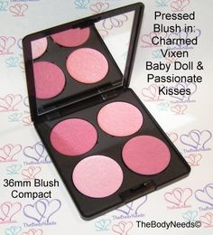 TheBodyNeeds Blush Compact Pressed Blush - 36mm Pans in a Black Mirrored Compact: Charmed - Dark Plum Rose with Gold Shimmer Vixen - Girly Pink with Soft Violet Duochrome   Baby Doll - High Frosted Baby Pink Passionate Kisses - Dark Pink with Blue Undertones