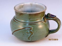 Soft Green Mug With Slip Work, Textured Handle, And Thumb Rest,  Ready To Ship