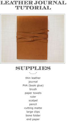 mufn inc: leather journal book tutorial-recover a journal - Gift Idea Leather Bound Journal, Bookbinding Tutorial, Leather Books, Leather Notebook, Book Crafts, Gift Crafts, Book Journal, Journals, Handmade Books