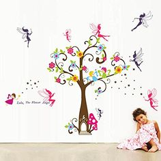 Walplus Wall Stickers Angle Tree and Fairy Removable Self-Adhesive Mural Art Decals Vinyl Home Decoration DIY Living Bedroom D�cor Wallpaper Kids Room Gift, Multi-colour