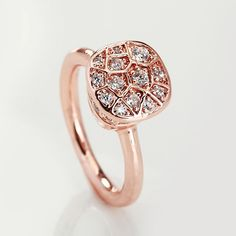 POMELLATO NUDO RING IN ROSE GOLD AND POLISHED WITH ZIRCON