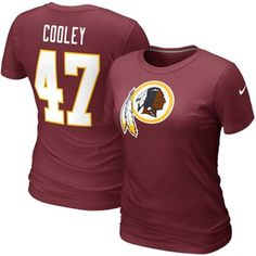 Nike Chris Cooley Washington Redskins #47 Women's Replica Name & Number T-Shirt - Burgundy