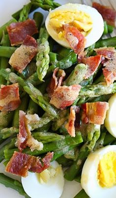 I love the combination of this simple salad of asparagus, hard boiled egg and bacon tossed with a Dijon vinaigrette – it has Spring written all over it! and bacon Asparagus Egg and Bacon Salad with Dijon Vinaigrette Easy Salads, Healthy Salads, Healthy Eating, Healthy Recipes, Healthy Menu, Skinny Recipes, Quick Recipes, Popular Recipes, Sweet Recipes