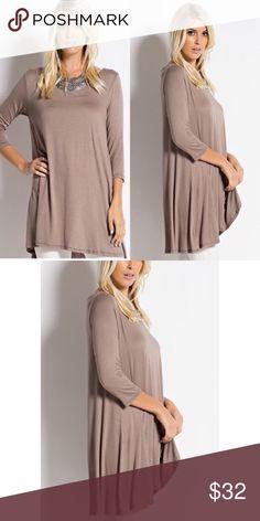 Mocha 3/4 Sleeves A-Line Tunic Top S,M Mocha 3/4 Sleeves A-Line Tunic Top  Fabric: 95% Rayon 5% Spandex.  FIT: Woman's size Small (2-4) Medium (6-8). True to size. 🚫No Trades🚫 Tops Tunics