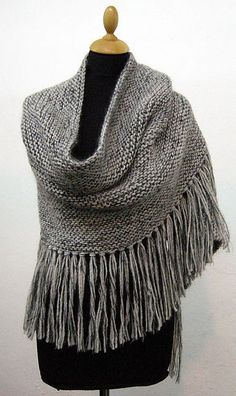Knit Wrap/Poncho/Big scarf .... I'd like to do this all in seed stitch with cowichan yarn love the fringe!